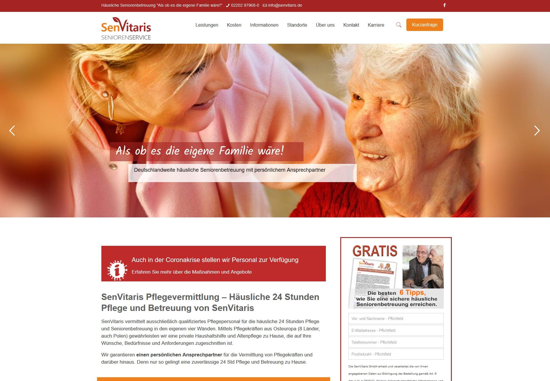 Pflegevermittlung von 24 Stunden Pflege Seniorenbetreuung SenVitaris in Bergisch Gladbach