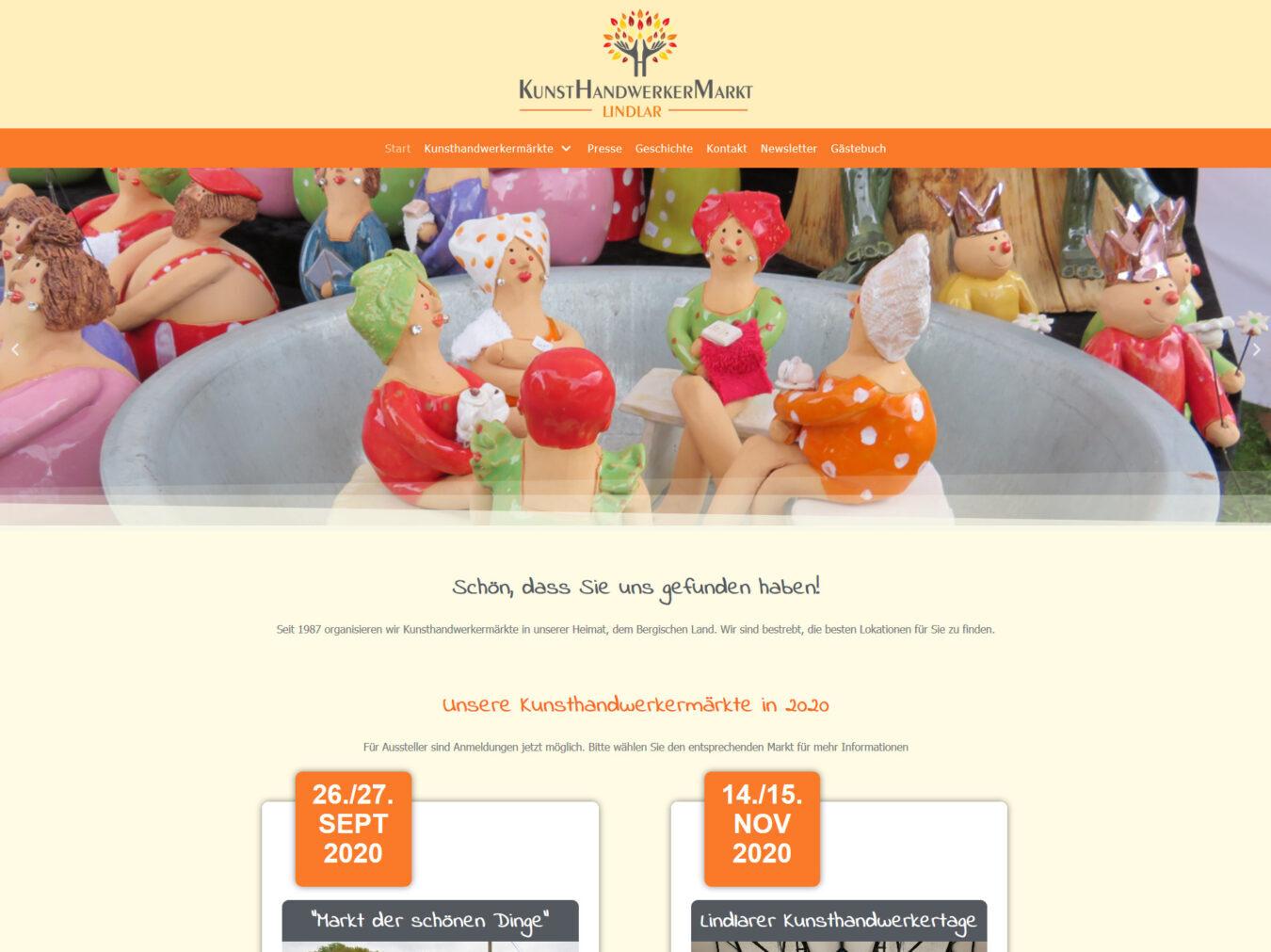 Webseite des Veranstalters Kunsthandwerkermarkt Lindlar - Petra Peters-Hensel