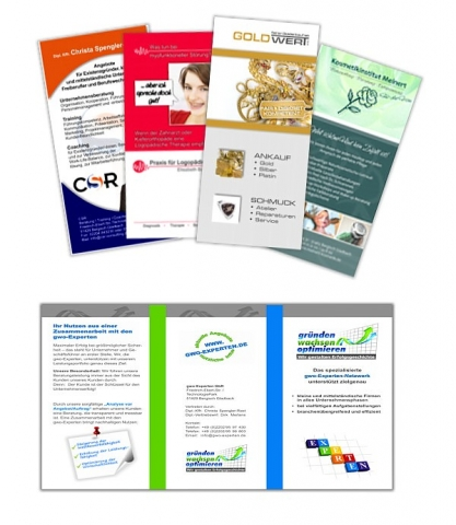 Arbeitsbeispiele Flyer und Folder made by ImageCreation