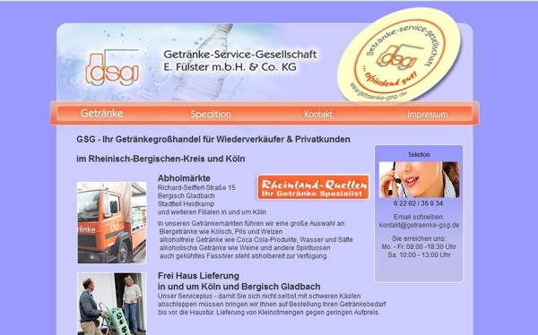gsg Getränkeservice und Spedition Fülster Bergisch Gladbach - www.getraenke-gsg.de - made by imageCreation.de