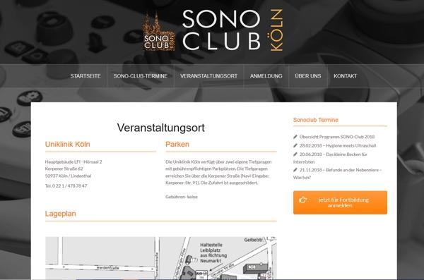 Webseite SONOCLUB Köln - Fortbildung für Ärzte im Bereich Ultraschall Kontrastmittelsonographie - made by imageCreation.de
